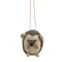 Wool Hanging Echidna - Brown