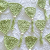 OB DESIGNS | Bunting Green Crochet | 100% Cotton