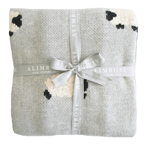 ALIMROSE | Baa Baa Blanket - 100% Cotton Grey