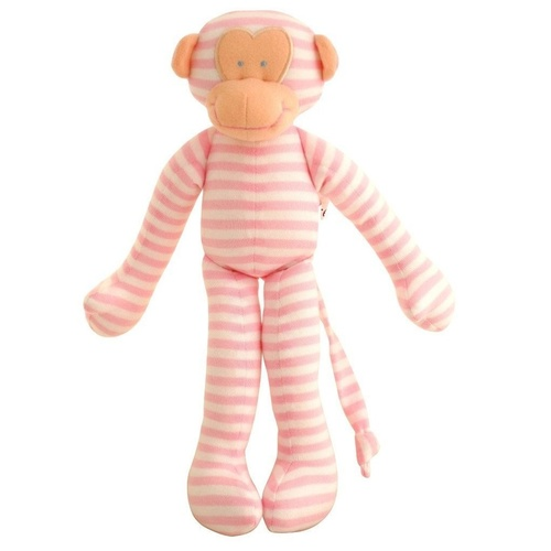 ALIMROSE | Monkey Rattle - Pink Stripe (30cm).